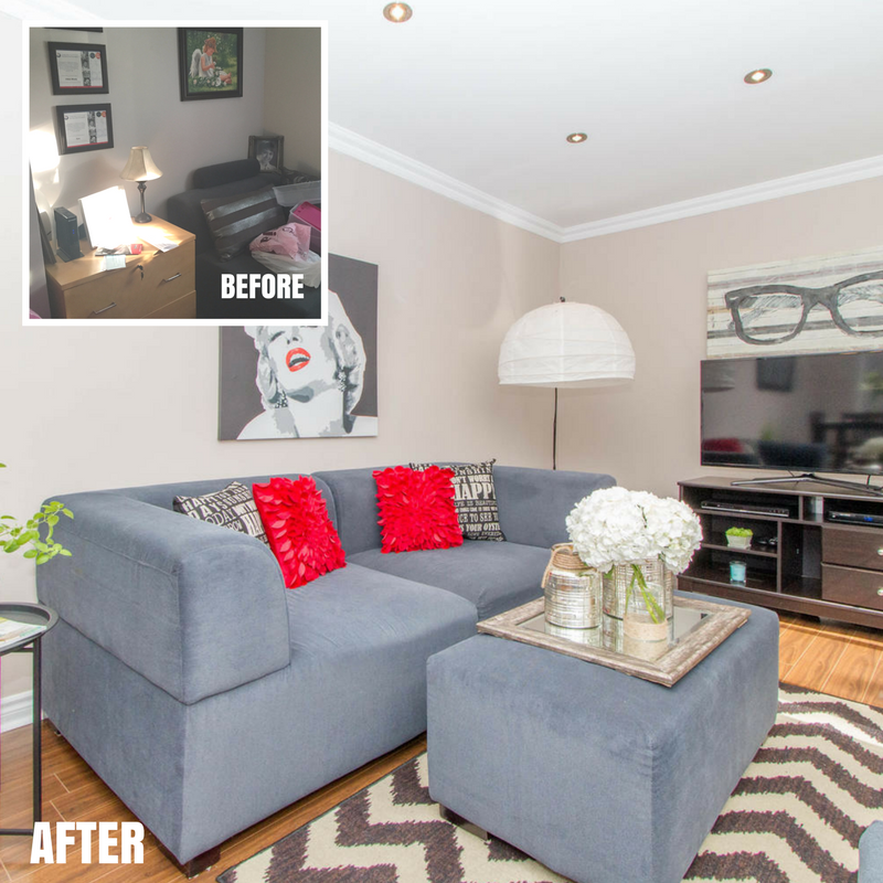 Dovedale family room -before-after